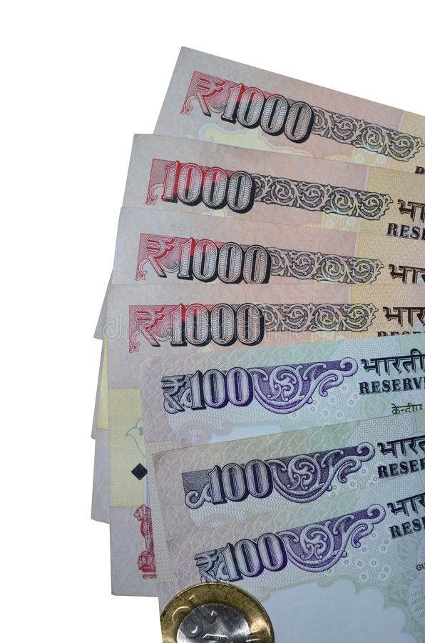 Notas indianas da rupia da moeda do valor 100, 1000 e moeda foto de stock