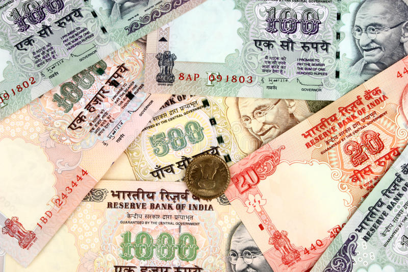 Notas indias del dinero foto de archivo