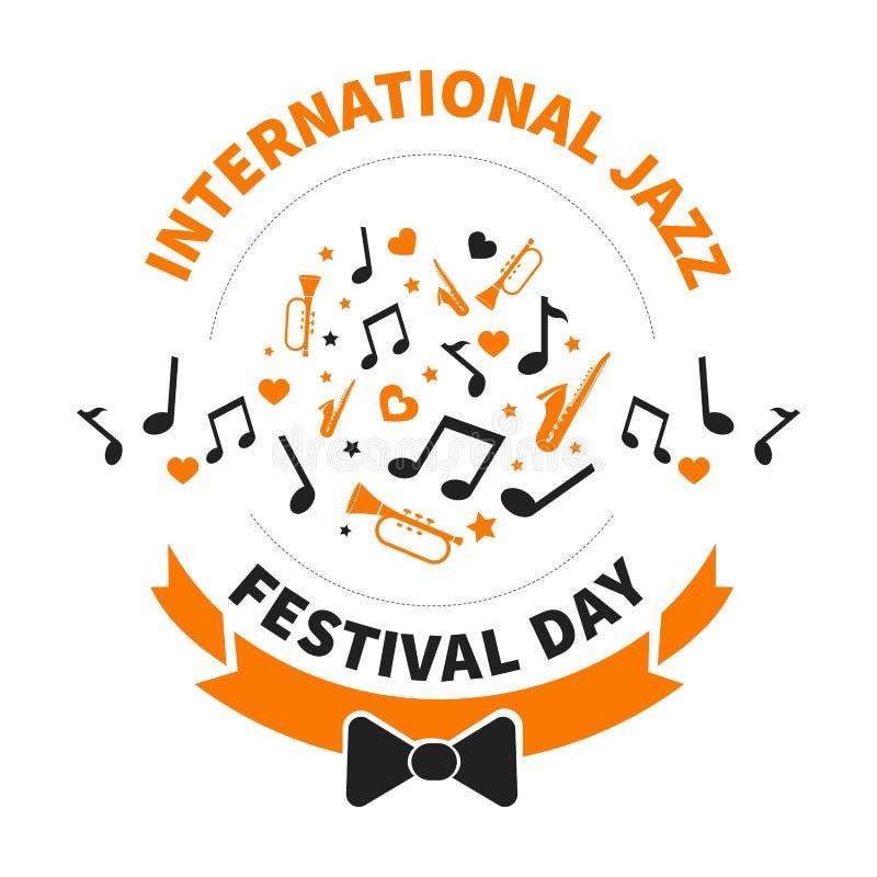 Notas internacionales del día del festival de jazz e instrumentos musicales libre illustration