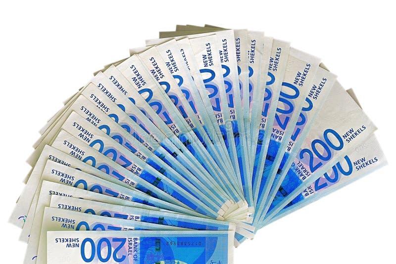 Notas israelitas do dinheiro Fã das cédulas do shekel isoladas imagem de stock