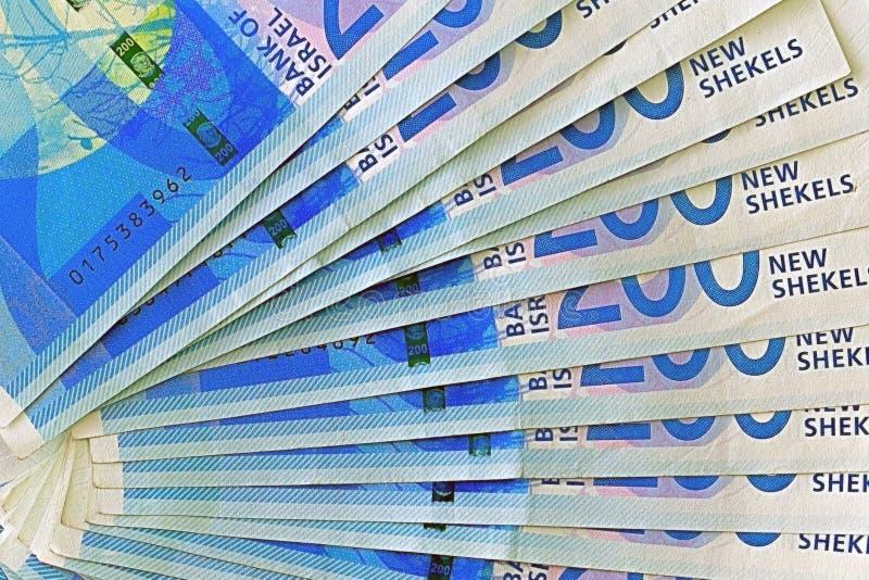 Notas israelitas do dinheiro Fã de cédulas do shekel imagem de stock