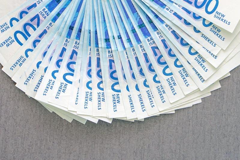 Notas israelitas do dinheiro F? de c?dulas do shekel fotos de stock