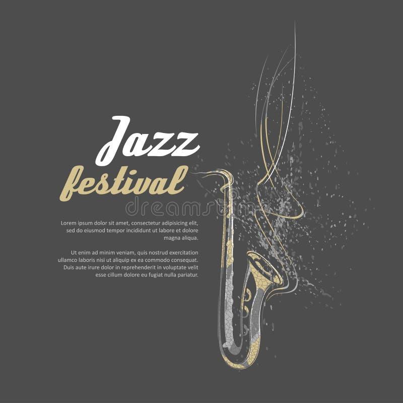Notas, líneas, saxofón ilustración del vector
