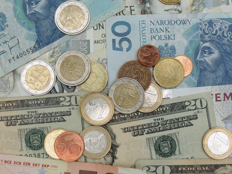 Notas misturadas da moeda imagem de stock royalty free