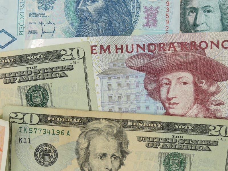 Notas misturadas da moeda imagens de stock royalty free