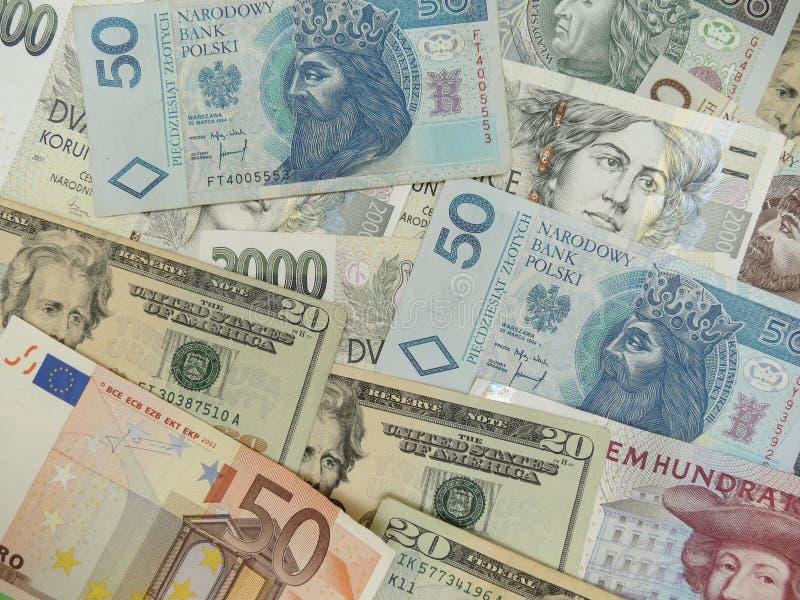 Notas misturadas da moeda fotografia de stock royalty free