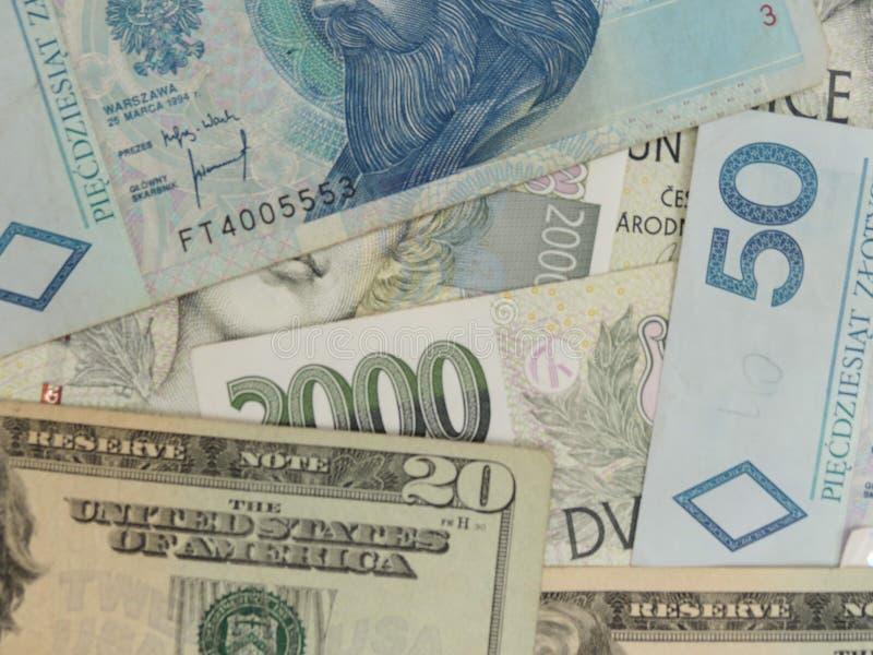 Notas misturadas da moeda foto de stock royalty free