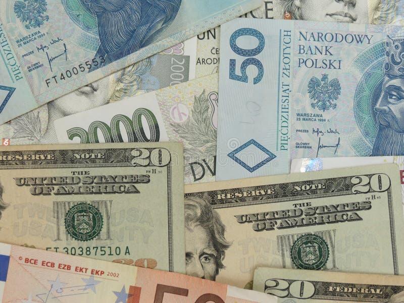 Notas misturadas da moeda fotos de stock