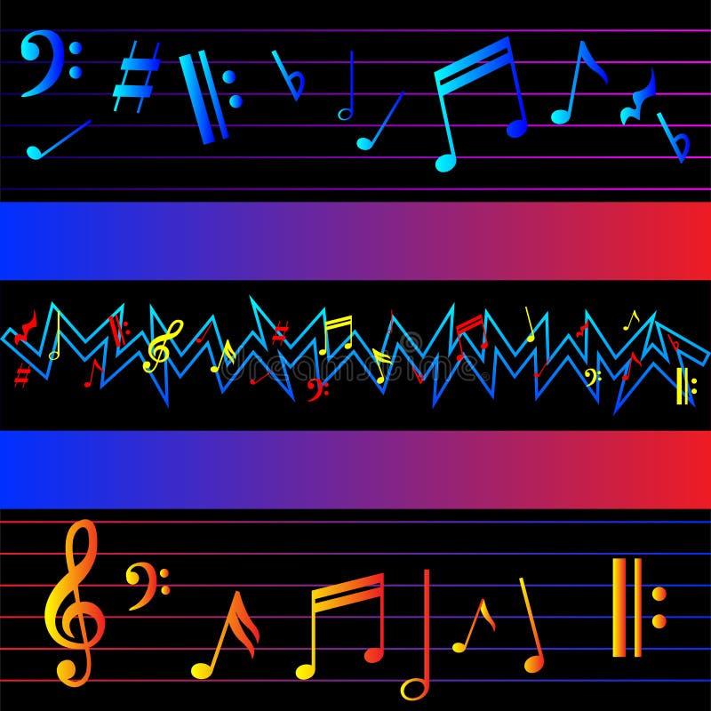 Notas multicoloras de la música sobre fondo negro ilustración del vector