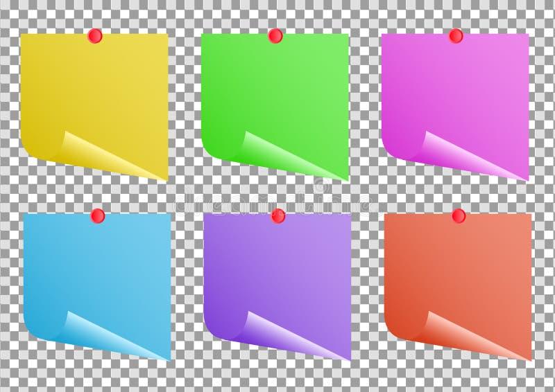 Notas multicoloridos no post-it transparente do fundo Grupo pegajoso colorido da nota ilustração realística do vetor ilustração stock
