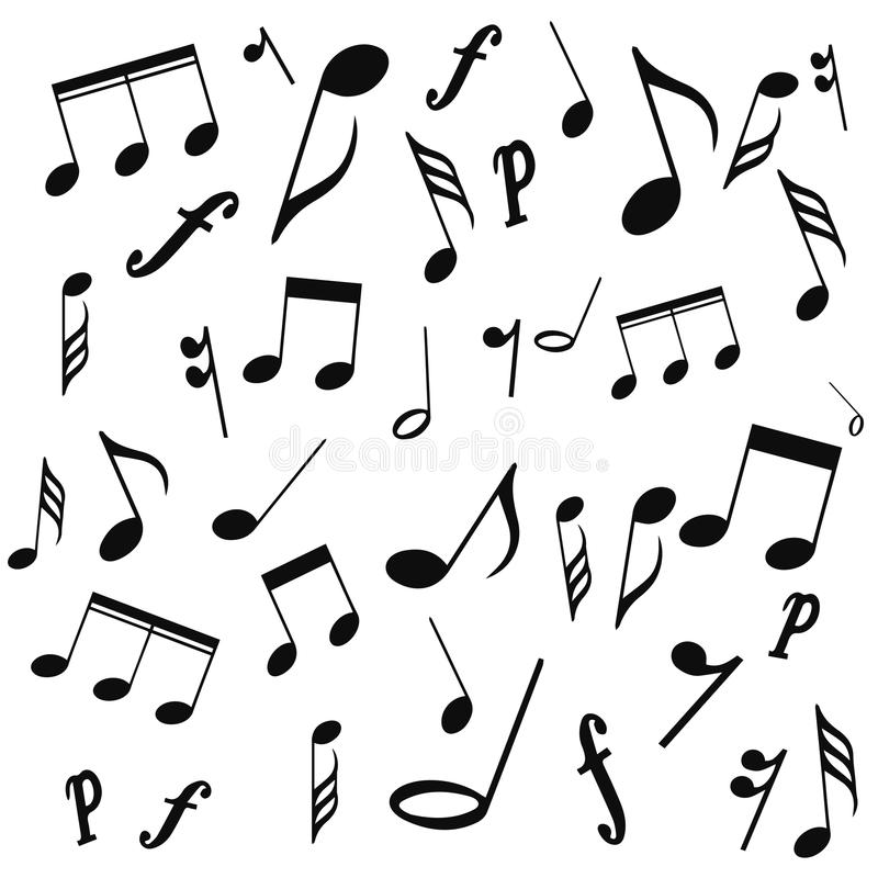 Notas musicais, clave de sol, vetor, em um fundo branco ilustração royalty free
