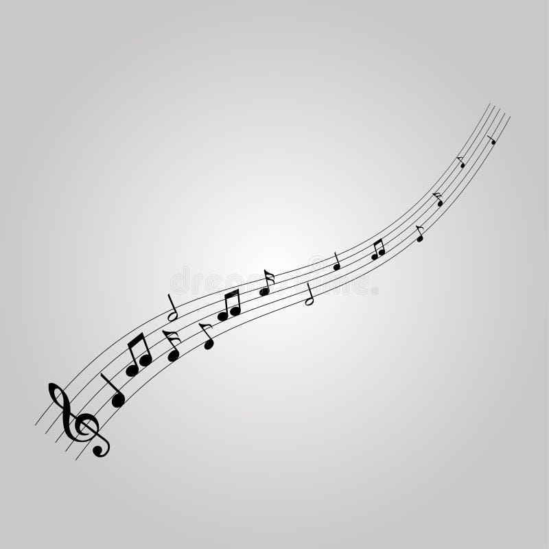 Notas musicais com a G-clave ilustração stock