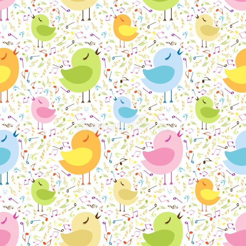 Notas musicais com galinhas ilustração do vetor