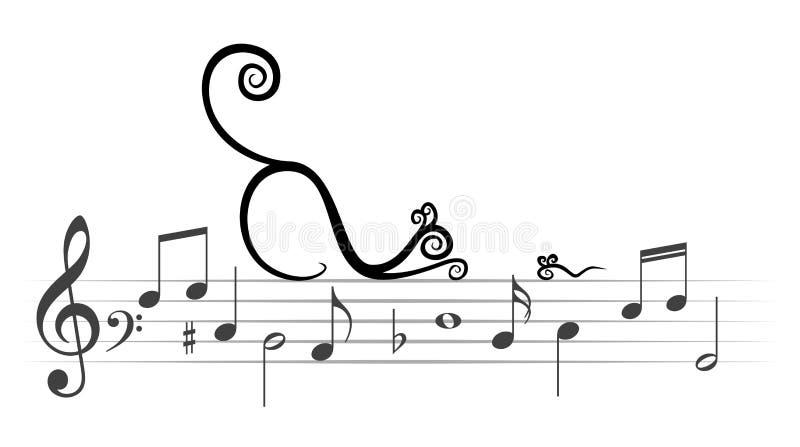 Notas musicais com gato e rato ilustração stock