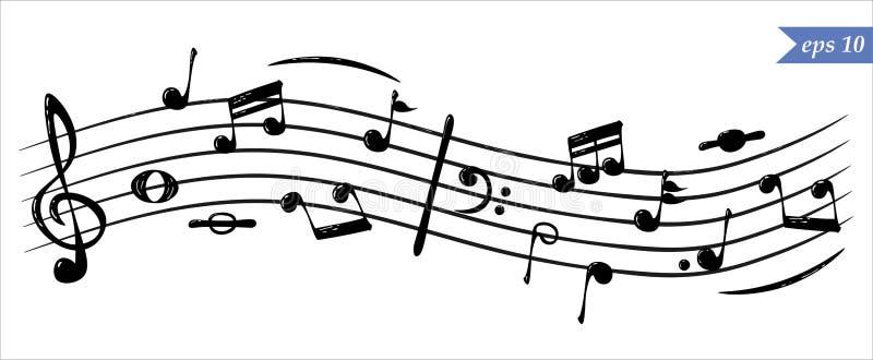 Notas musicais de fluxo realísticas, vetor ilustração royalty free