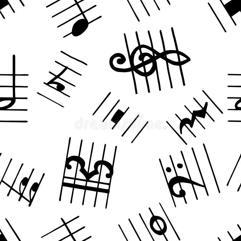 Notas musicais dos backgrouns sem emenda do patterm Sinal do vetor da música Coleção da melodia ilustração do vetor