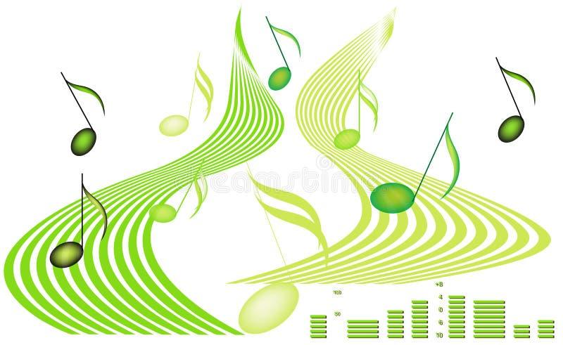 Notas musicais e decibéis ilustração do vetor