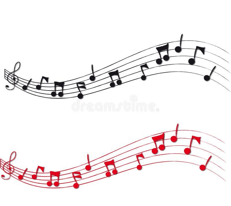 Notas musicais e equipe de funcionários ilustração stock