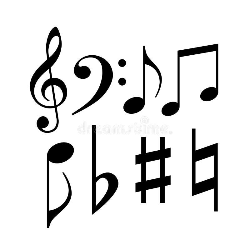 Notas musicais e símbolos ilustração do vetor