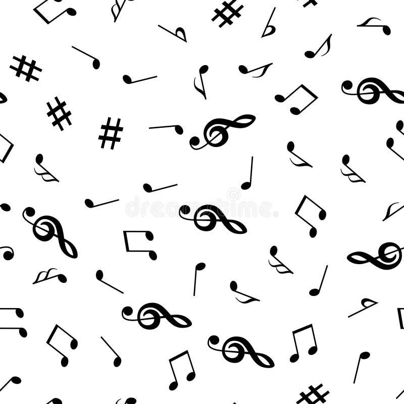 Notas musicais e teste padrão sem emenda da clave de sol Fundo da música Ilustração do vetor ilustração royalty free