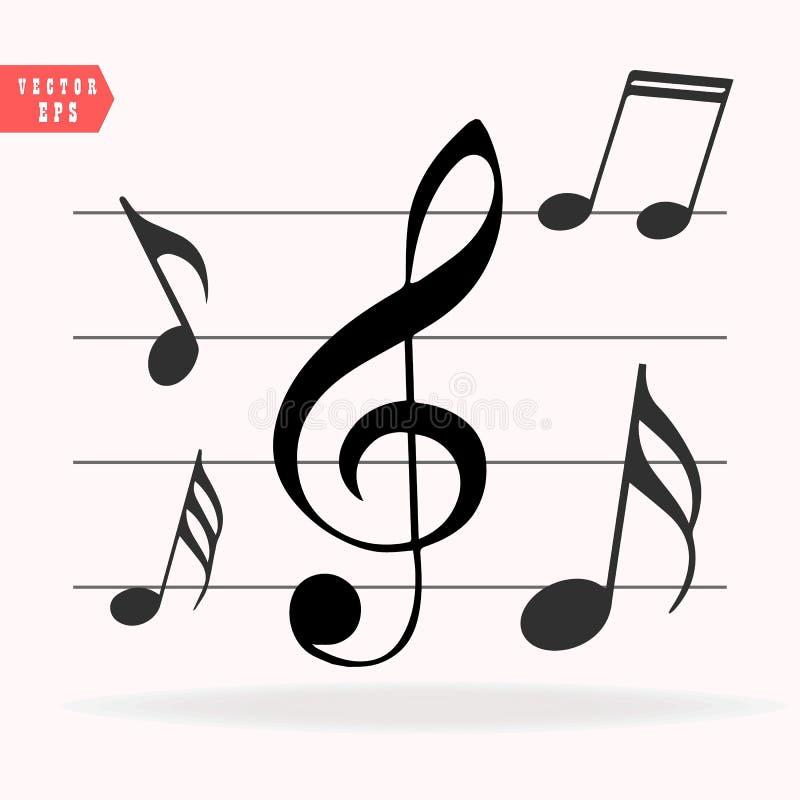 Notas musicais na escala Grupo do ícone da nota da música Ilustração do vetor ilustração royalty free