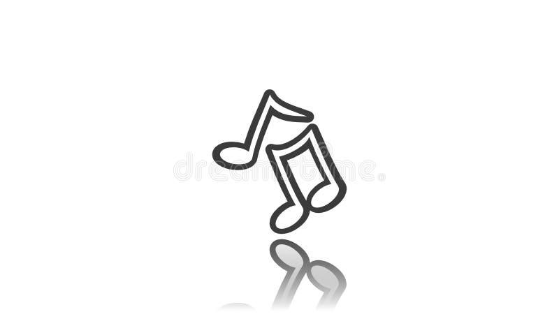 Notas musicais, sinal, ícone, ilustração 3D ilustração do vetor
