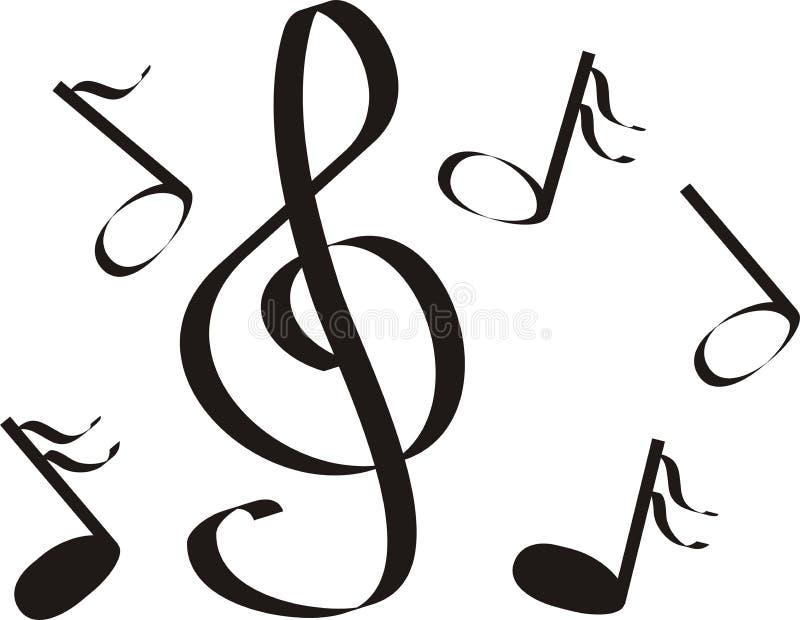 Notas musicais um triplo ilustração stock