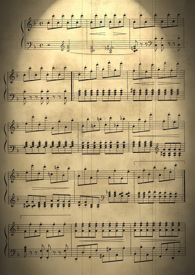 Notas musicais velhas fotos de stock royalty free