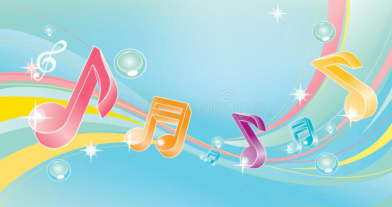 Notas musicales coloridas ilustración del vector