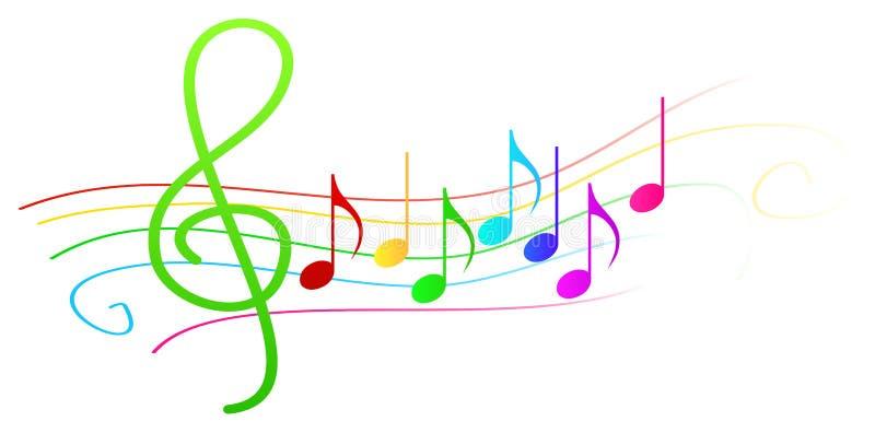 Notas musicales coloridas sobre bastón ilustración del vector