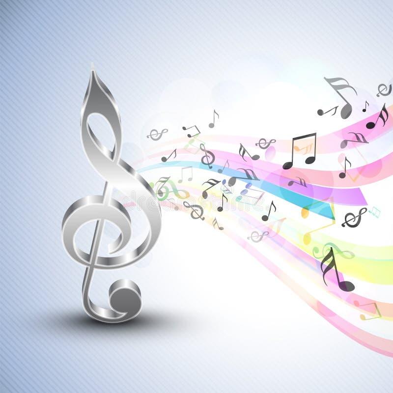 Notas musicales con la g-clave y las ondas coloridas stock de ilustración
