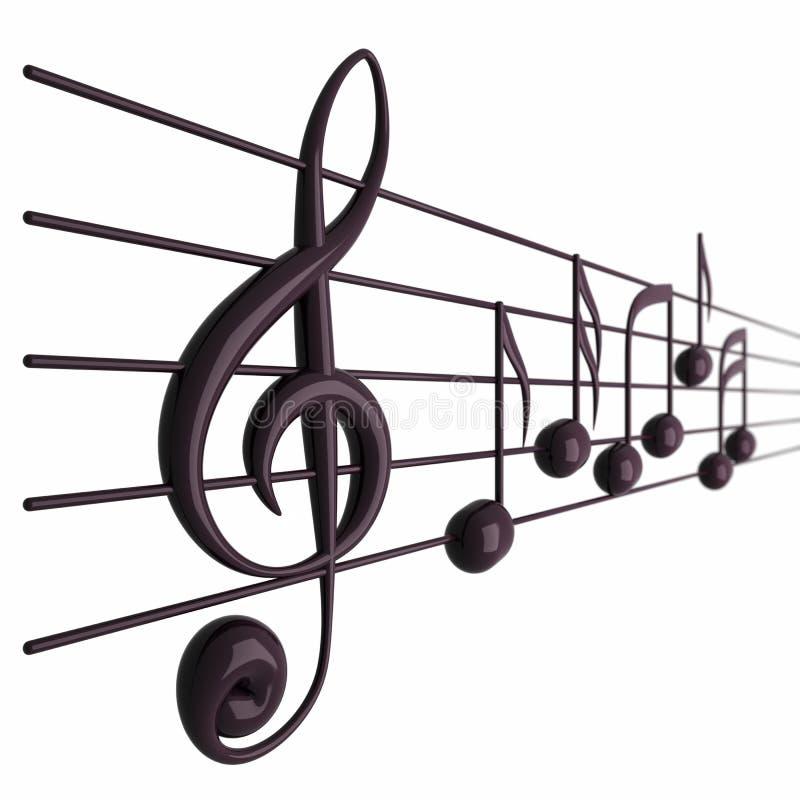 Notas musicales con la profundidad del campo stock de ilustración