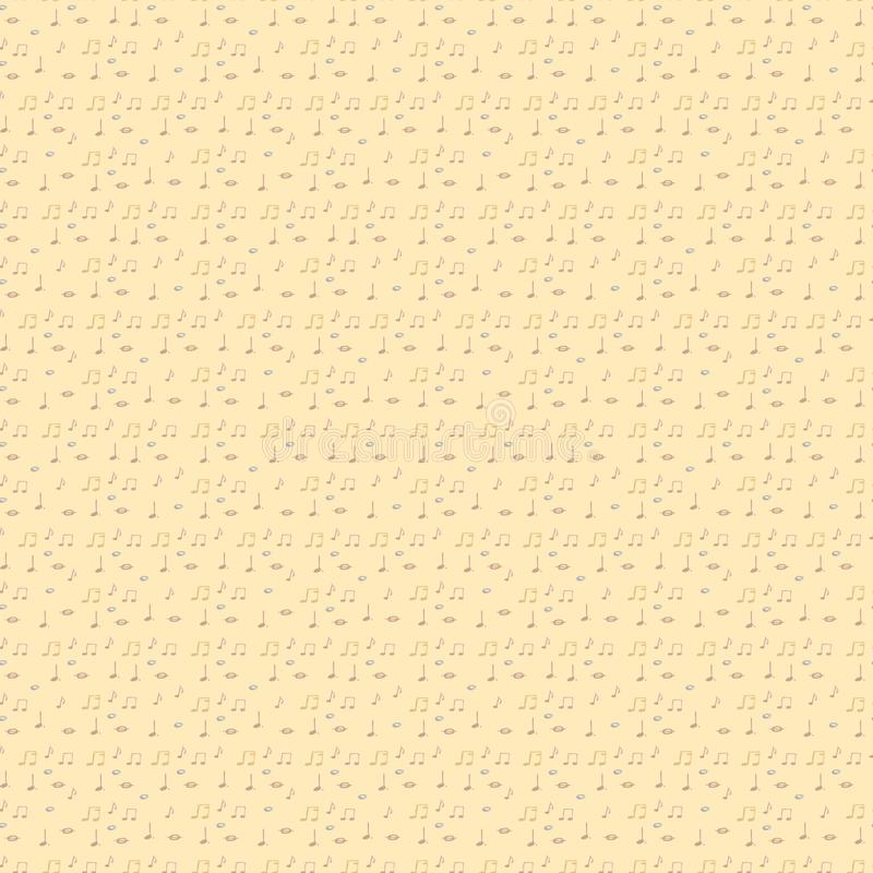 Notas musicales de la acuarela Modelo inconsútil de la música Fondo ilustración del vector