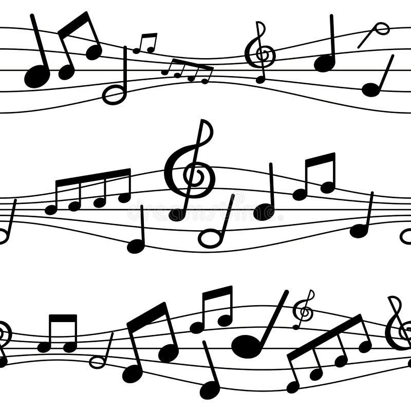 Notas musicales del modelo inconsútil del fondo del ejemplo ilustración del vector