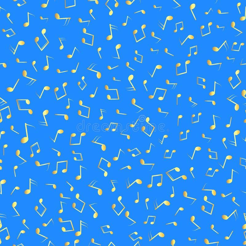Notas musicales del oro inconsútil del modelo sobre fondo azul Vector stock de ilustración