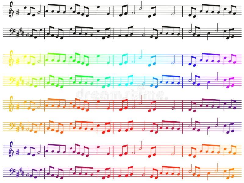 Notas musicales en color sobre un fondo blanco Patrón de símbolos de melodía Degradado de color Tema musical stock de ilustración