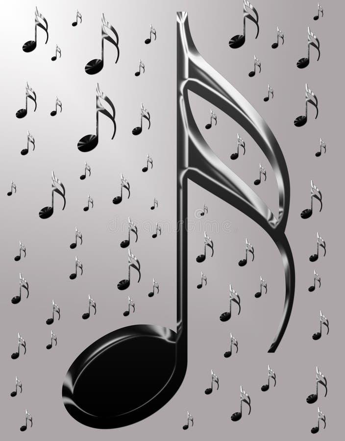 Notas musicales metálicas ilustración del vector