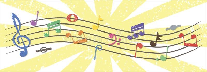 Notas musicales realistas, coloridas, que fluyen, vector ilustración del vector