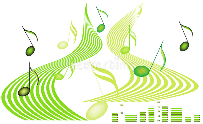 Notas musicales y decibelios ilustración del vector
