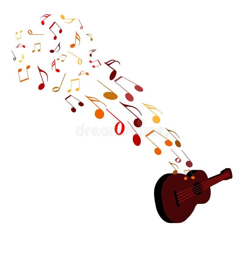 Notas musicales y guitarra ilustración del vector