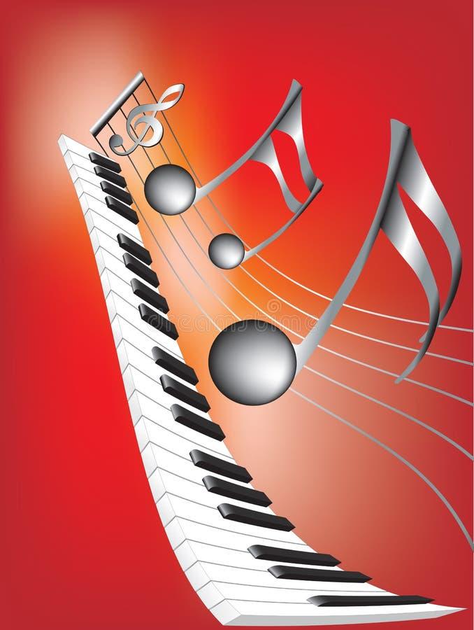Notas musicales y teclado ilustración del vector