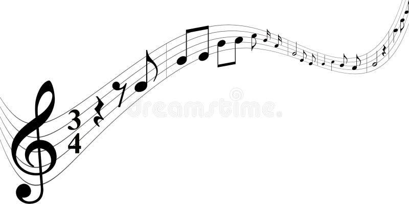 Notas negras de la música en el fondo blanco stock de ilustración