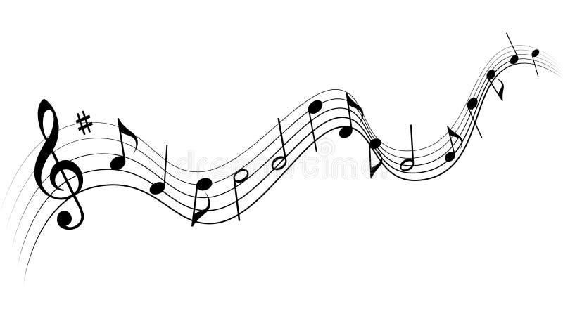 Notas negras de la m?sica en el fondo blanco stock de ilustración