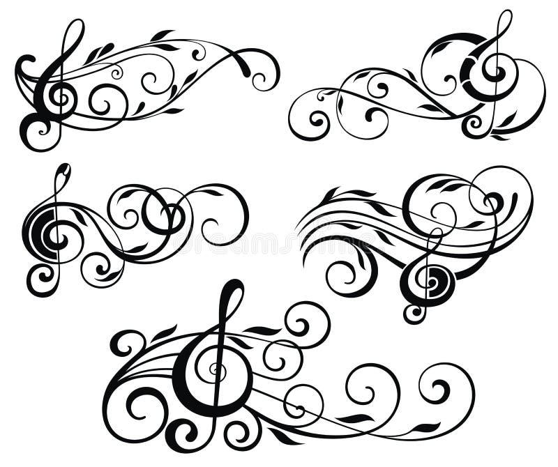 Notas ornamentales de la música ilustración del vector