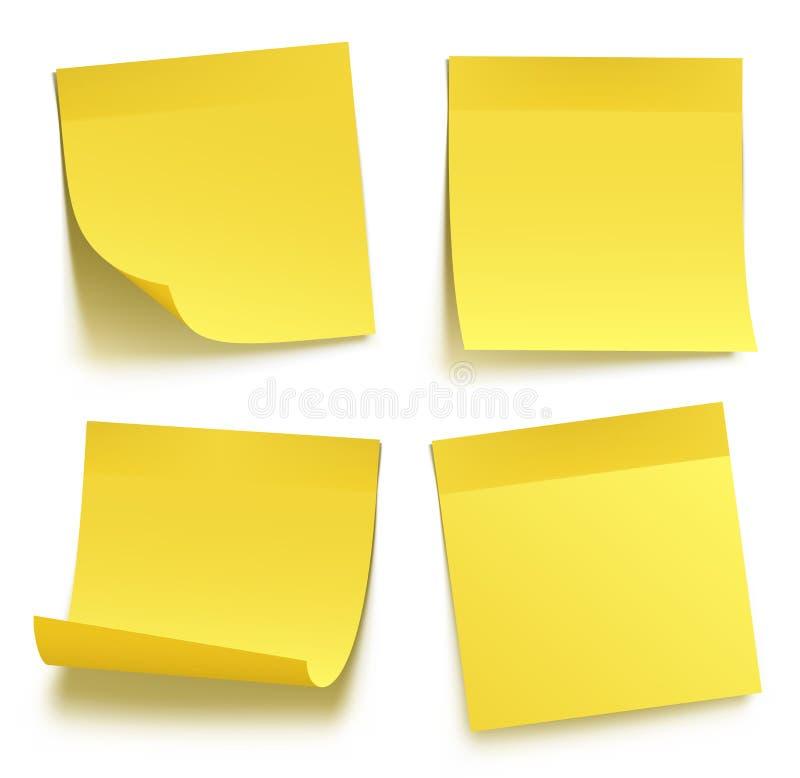 Notas pegajosas amarelas ilustração do vetor