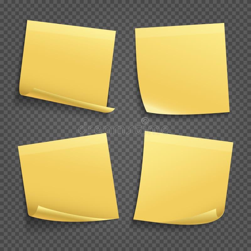 Notas pegajosas amarelas do vetor no fundo transparente ilustração royalty free