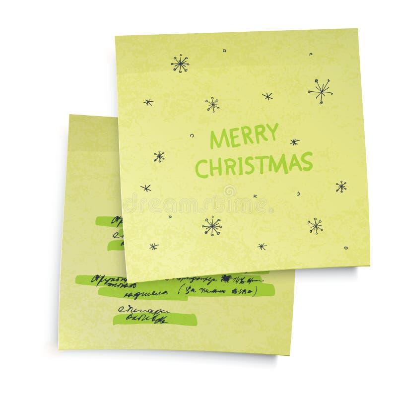 Notas pegajosas com cumprimentos do Feliz Natal ilustração do vetor