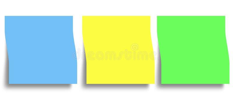 Notas pegajosas do lembrete da memória ilustração stock