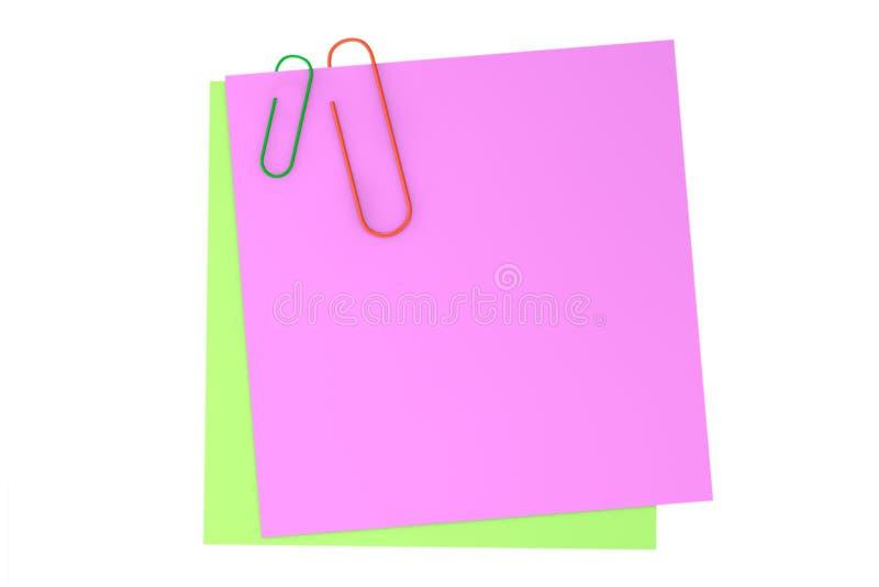 Notas pegajosas do memorando com clipe de papel imagens de stock