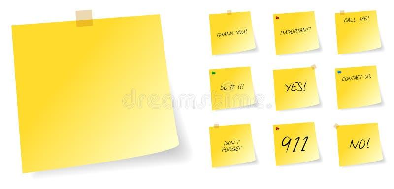 Notas pegajosas do post-it amarelo com mensagens ilustração royalty free